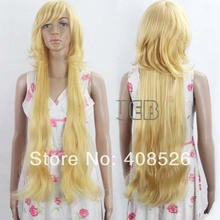 Hot Sell! Stylish 92cm Long Blonde Cosplay Straight Synthetic Hair Wig free shipping 4539(China (Mainland))