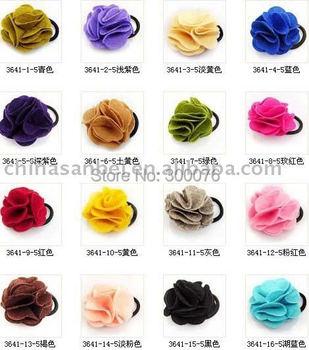 Felt Flower Hair Tie Pigtail  holder hair band clip