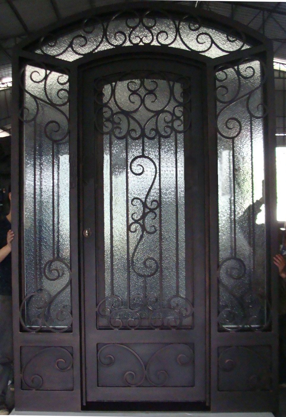 Wrought iron doors with interior glass sliding door for lm