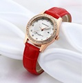 LUXURY BRAND new girl quartz watch around rhinestone diamond dial leather strap ladies casual watches women