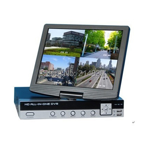Free Shipping H.264 COMBO 8ch all in one Integrate 10.5 inch digital LCD all-in-one design Security DVR(China (Mainland))