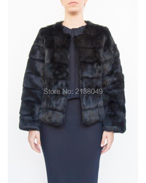 Fc03801 полосатый Sheare реального кролика куртки / полупальто длинный рукав кролика шубы женщины