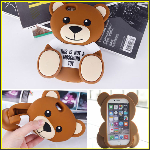 3D Cartoon Soft Silicone Toy Teddy Bear Case For Iphone 4 4S 5 5S 6 6 Plus Coque Moshino Phone Case For Samsung S5 S6 Note 3 4(China (Mainland))