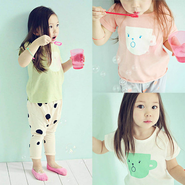 Free Shipping Baby Kid Girl Short Sleeve T-shirt Summer Casual Cup Print Tee Tops Clothes 2-7Y Drop Shipping<br><br>Aliexpress