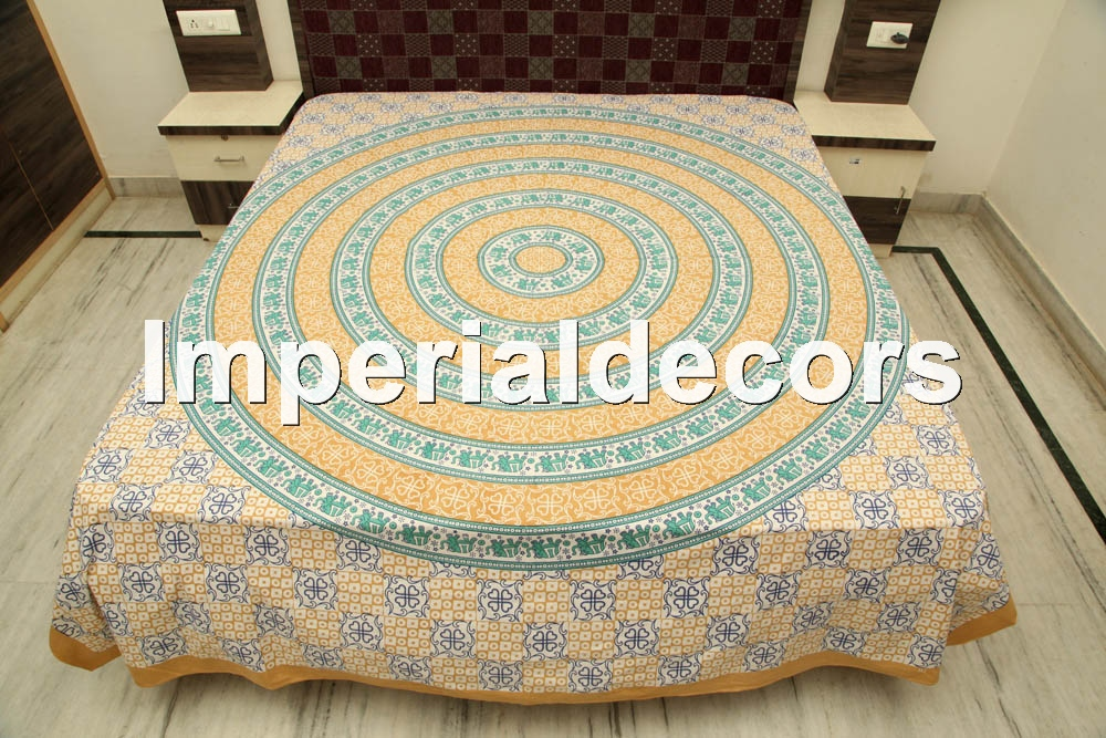Bed sheet, Indian Tapestry Elephant, Hippie, Kaleidoscopic, Mandala Bedspread (KING Size, 100% Premium Quality) Home Decor.