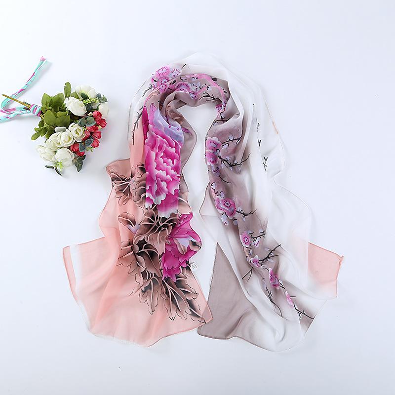 8892 Print Silk Chiffon Scarf Women's Foulard Soie Shawls and Scarves Long Shawl Printed Cape Chiffon Tippet Muffler 160*50cm(China (Mainland))