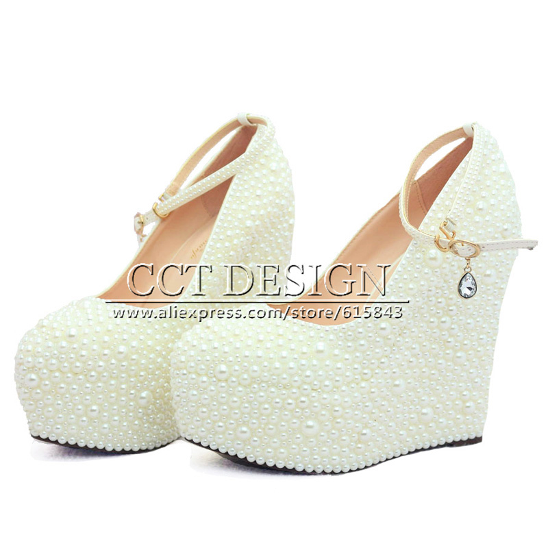 2015 New Fashion Women Pump Wedges Wedding Shoes White Ivory Pearl Party Shoes High Heel