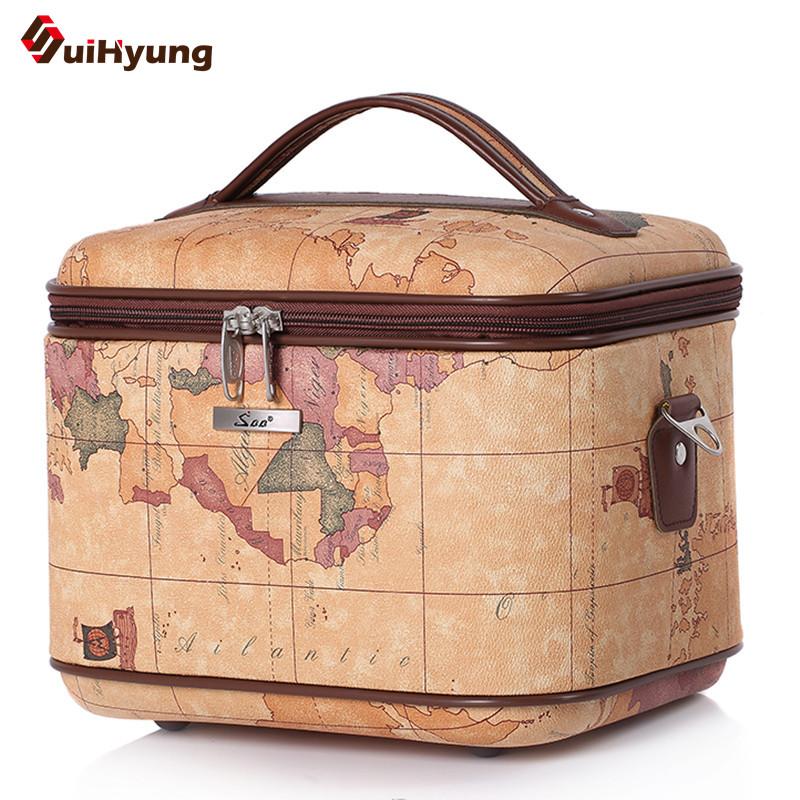 New Quality PU Leather Cosmetic Bag Fashion Map Pattern Styling Vanity Case Makeup Artist Dedicated Big capacity Storage Box(China (Mainland))