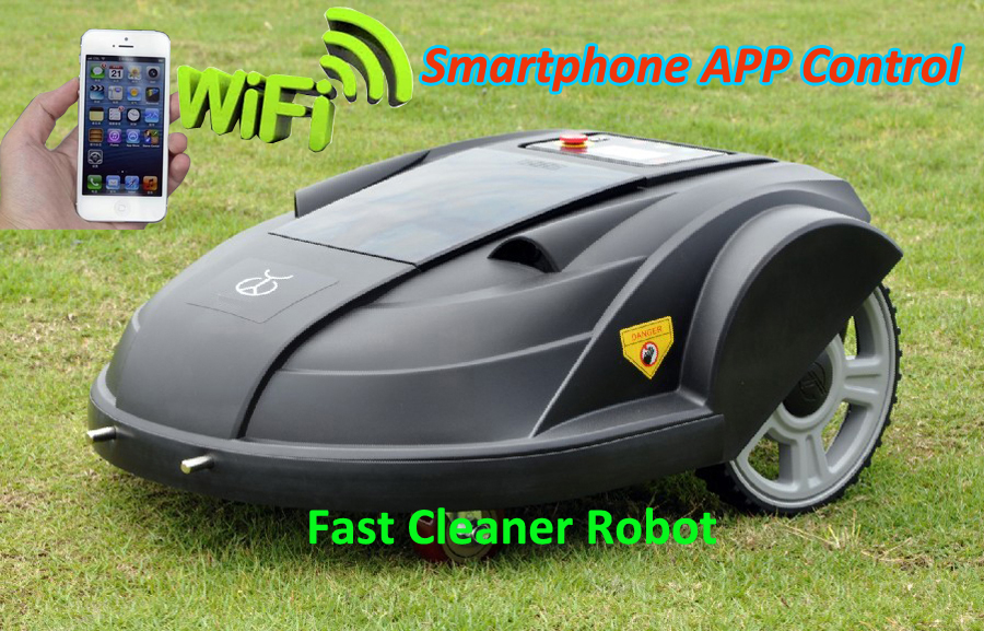 Newest Smartphone App WIFI Wireless Remote Control Lawn Mower Robot with Water-proofed Charger,Range,subarea,Compass functions(China (Mainland))
