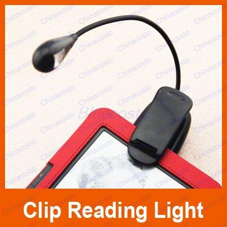 New Arrival LED Book Reading Light with USB Power Cable Clip led light For Ebook Reader/Kindle/Nook, Retail
