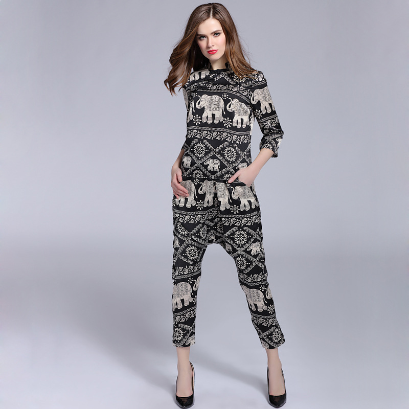 The Spring Big Yards Ladies Printed Pure Silk Blouse Harlan Off Pants SuitОдежда и ак�е��уары<br><br><br>Aliexpress