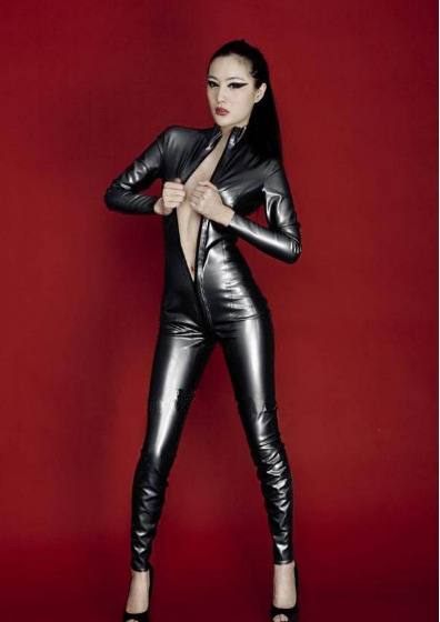 pvc Nightclub performances uniform Tight conjoined policewoman suits Body-hugging paint queen leather lingerie(China (Mainland))