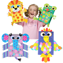 Easy Crafts Art Sticker Paper Bag Puppets Kids Child Creative Activity DIY Toys(China (Mainland))