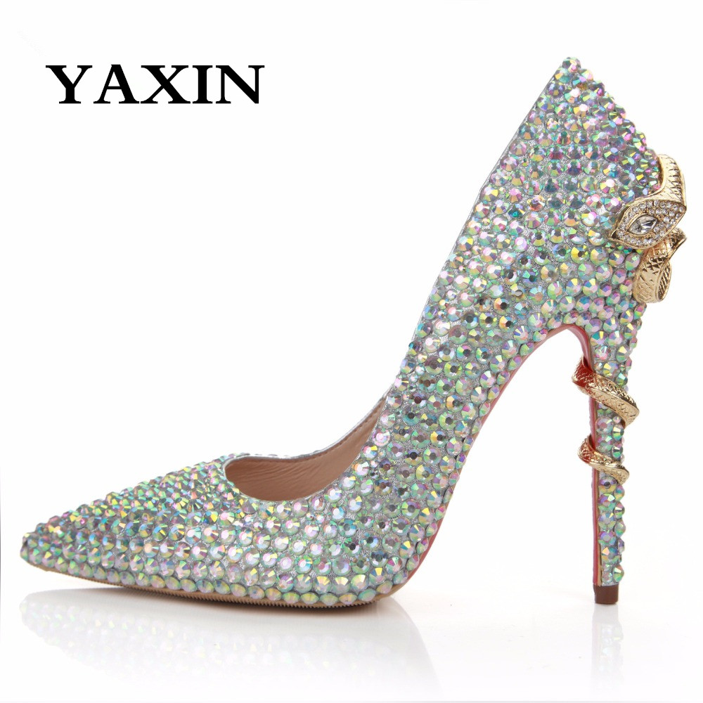 2015 Plus Size Snake Heel Women's Shoes Rhinestone Luxury Diamond Pointed Toe High Thin Heels Wedding Ladies Party - Anna's World store