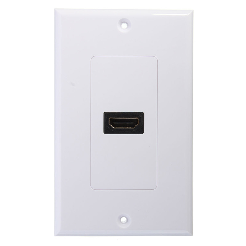 Excellent Quality Brand New 1-Port HDMI Wall Face Plate Panel Cover Coupler Outlet Extender 3D 1080P White(China (Mainland))