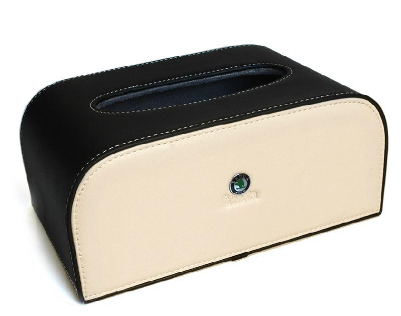 beige-black leather car paper box For Skoda Octavia Fabia Superb Yeti Vision D-Rapid(China (Mainland))