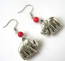 Details about  Pair Beauty Red Coral Tibet Silver Lovely Elephant Earrings Wholesale Price(China (Mainland))
