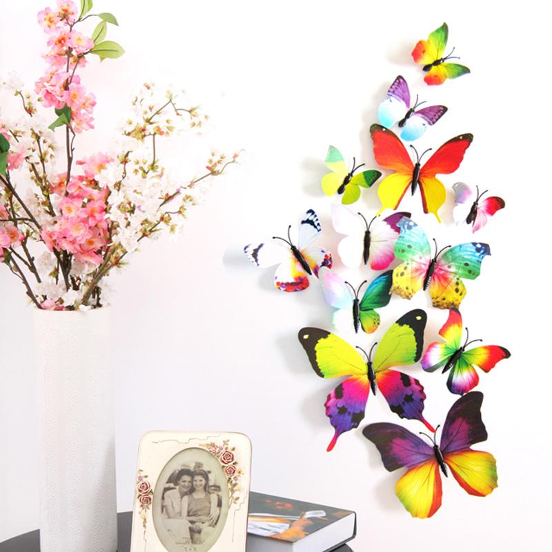 12PCS 3D PVC Magnet Butterflies DIY Wall Sticker Home Decoration(China (Mainland))