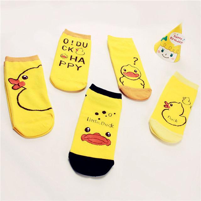 Корейский забавный женщин утка трубке носки 2015 новинка резиновые утки мультфильм лодыжки носок чистого хлопка личность носки для девочек