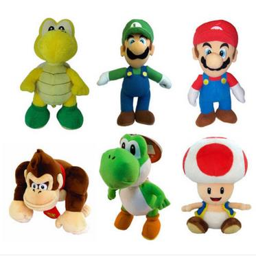 "Super Mario Kids Soft Plush Toy 9"" Mario Luigi Toad Koopa Donkey Kong Yoshi(China (Mainland))"
