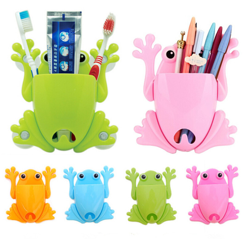 More pratical cute frog toothbrush holder home orangnization creative cartoon toothpaste rack wall mounted type storage holder(China (Mainland))