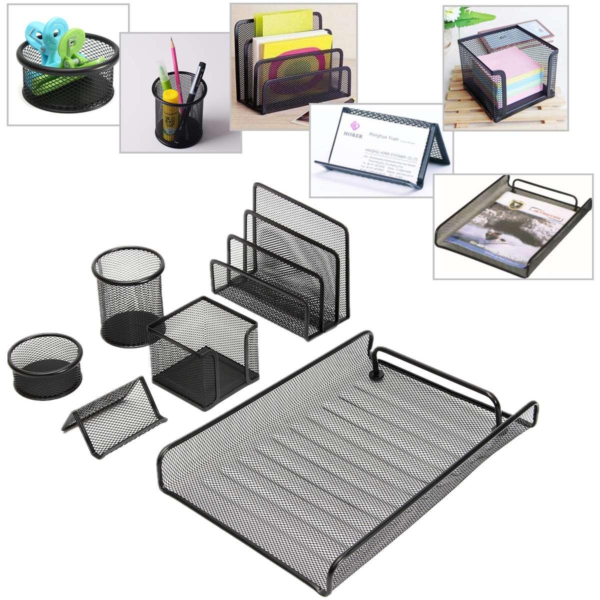 6Pcs/Set Metal Pen Desktop Storage Holder Multifunctional Mesh Pencils Desk Organizer Box Slots Home Office Stationery(China (Mainland))