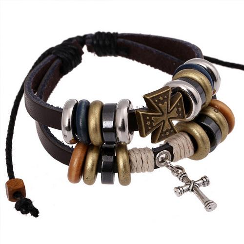 Stylish CROSS Studded Surfer Genuine Leather Bracelet Lady's Multilayer Wood Stainless Steel Round Bead Tibetan Bracelet Jewelry(China (Mainland))