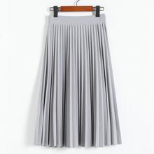 Printemps et automne nouvelle mode femmes taille haute plissée couleur unie demi longueur jupe élastique Promotions dame noir rose(China)