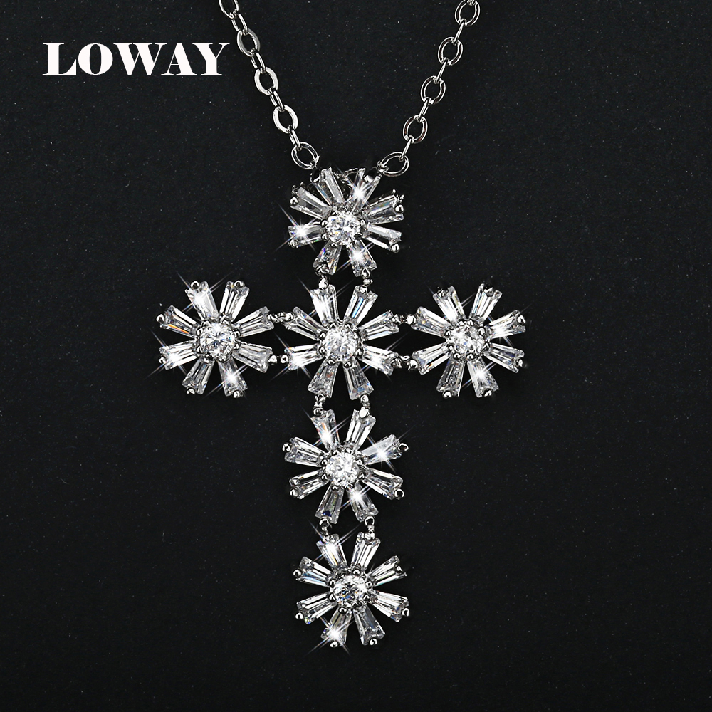 LOWAY Flower Cross Design Fashion Jewelry Platinum Plated Cubic Zirconia Pendant Necklace Best For Women Gift