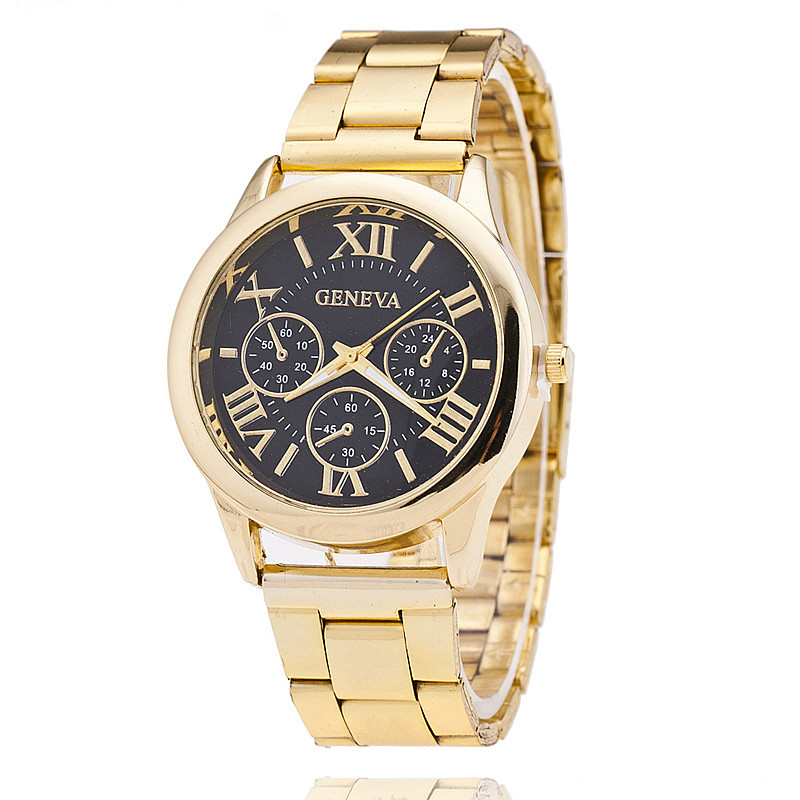 Buy new stainless steel geneva watch men gold watches watched luxury men for Watches geneva