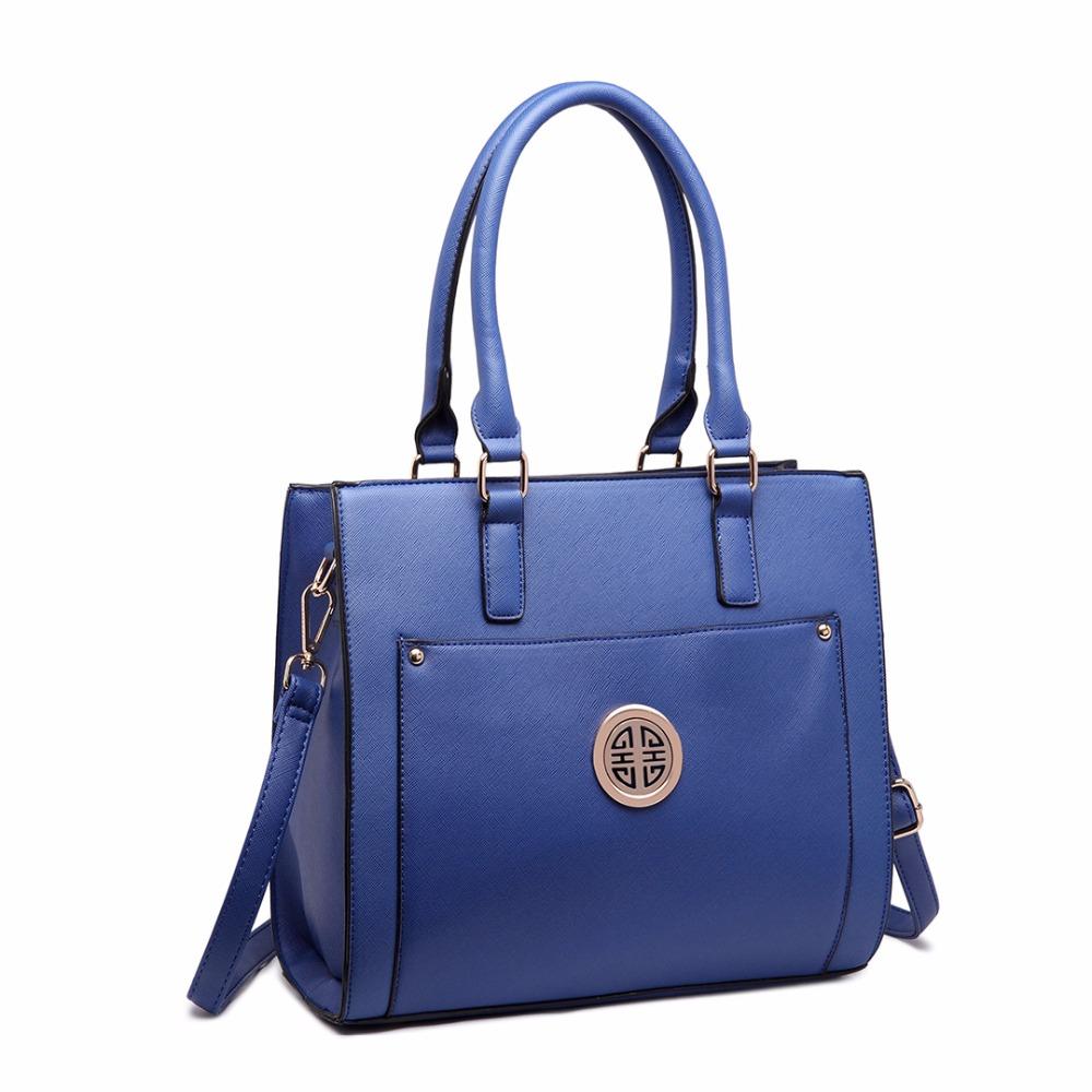 Miss Lulu Navy New Fashion Women PU Leather Handbag A4 Zip Pocket Front Shoulder Tote Hand Bag Cross Body Satchel(China (Mainland))