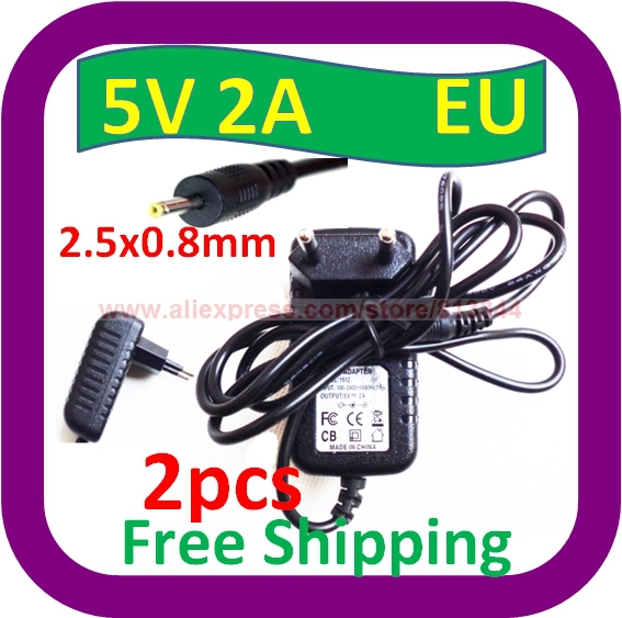2 pcs Free Shipping 5V 2A AC Wall EU Plug Charger Power ADAPTER w 2.5mm Cord for Superpad VI/V10 Android Tablet(China (Mainland))