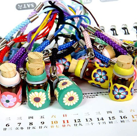 10pcs/lot Color Flower Fimo Clay Perfume Pendant Fragrance Scented Vials Wedding Gift DC649(China (Mainland))