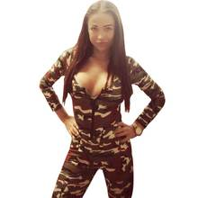 2015 Hot Europen Celebrity Sexy Jumpsuit Women Rompers Renda The Army Soldier Catsuit Long Sleeve Bodycon Playsuit Overall Plus