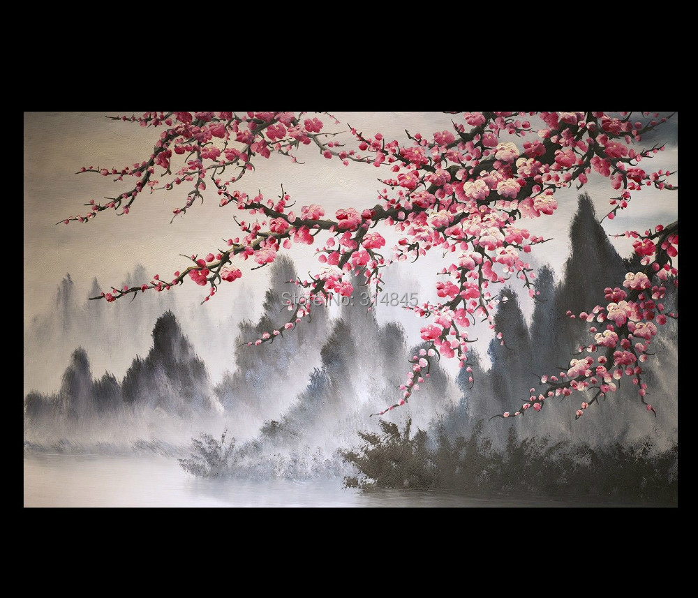 Modern wall art paintings art prints on canvas japanese for Cherry blossom mural works