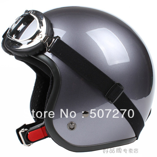 "E.116 3/4 Taiwan "" SYC "" NEW Scooter Cycling Motocross Half Face Motorcycle Full Silver Gray Helmet & UV Goggles Summer Adult(China (Mainland))"