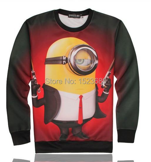 2015 Fashion Women Sweatshirts Funny 3D printed O-neck long sleeve Winter Men hoodies cartoon gun little yellow people TWY071(China (Mainland))