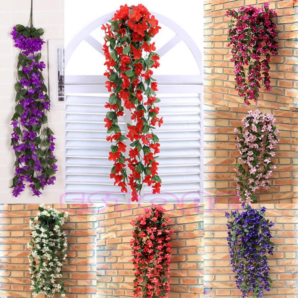 Vine Flowers Artificial Fake Violet Hanging Garland Hanging Home Wedding Decor HXP001(China (Mainland))