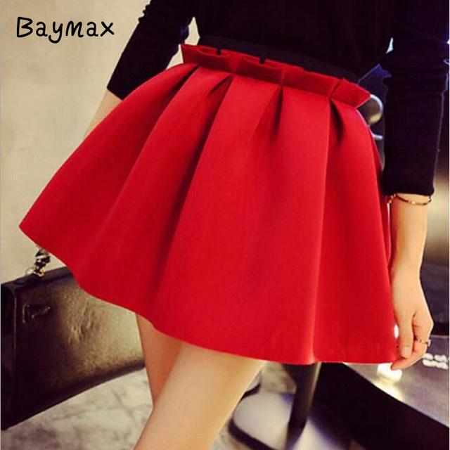 2016 летние юбки женщины красный неопрена пространство хлопка высокая талия черный розовый юбка в складку милый старинный мини короткая юбка faldas юп