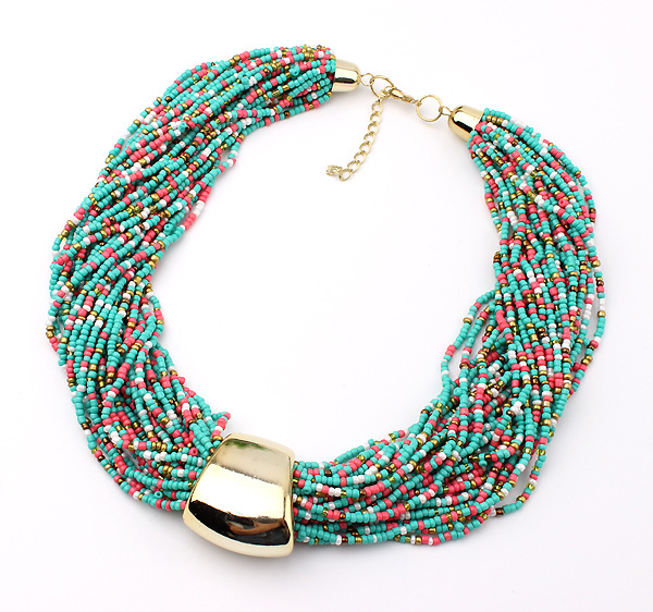 Star Jewelry Fashion Bohemia 7 Colors Candy Beads Statement Necklace For Woman 2015 New Gold Plated