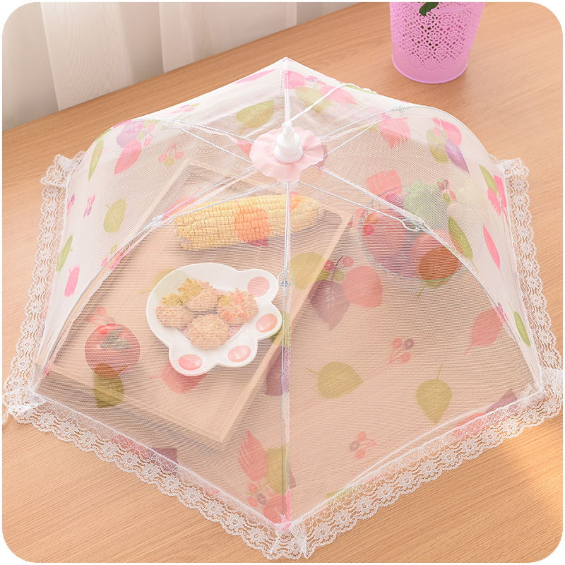 Summer Large lace gauze folding circle cover food dining table cover leaf mustard sheathers 9336(China (Mainland))