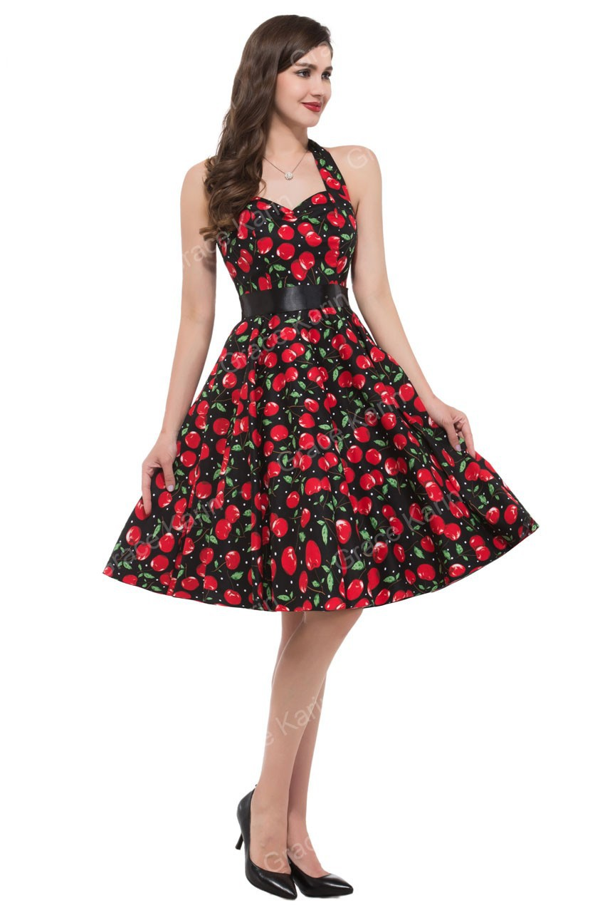 Free Shipping Grace Karin Stock Cotton Flower Print Ball Evening Prom vintage Party Dress 4 Size S~XL CL6075