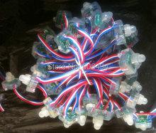 100PCS/LOT 12mm square WS2811 5V LED node string Pixel RGB full color Light digital diffused module Waterproof IP68 advertising(China (Mainland))