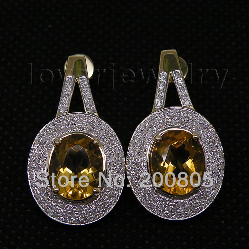 Vintage Oval 9x11mm Solid 14K Yellow Gold Natural Diamond Citrine Earrings,Beauty Citrine Diamond Earrings For Sale(China (Mainland))