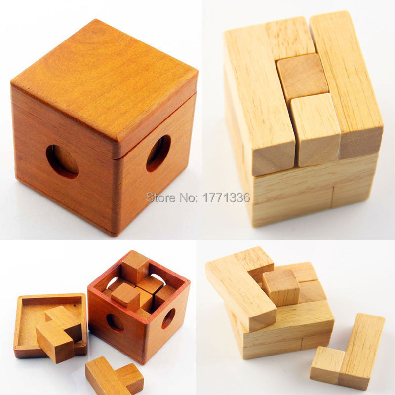 2 Designs Chinese Traditional Magic Wooden Puzzle Box Children's IQ Test Educational 3D Square Brain Teaser Toy Gift ZH-9(China (Mainland))
