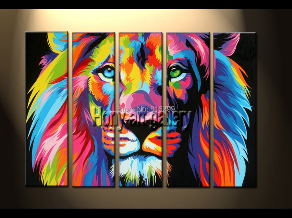 100% Handpainted Modern Animal Oil painting on canvas Art home decoration modern wall art picture color, Lion king Framed sh134(China (Mainland))