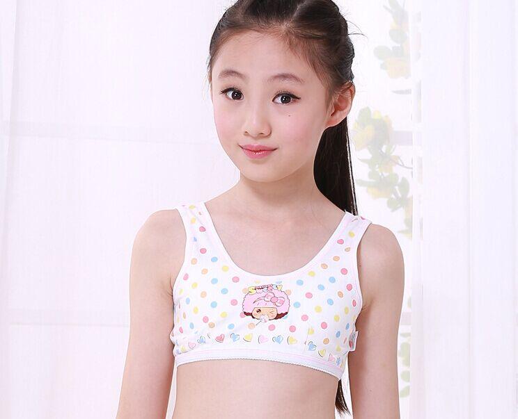 10 PCS Small Girls Underwear Cotton Dot Girls Preteen Underwear Teen Bra Developing Girl's Bra Cotton Crop For Student(China (Mainland))