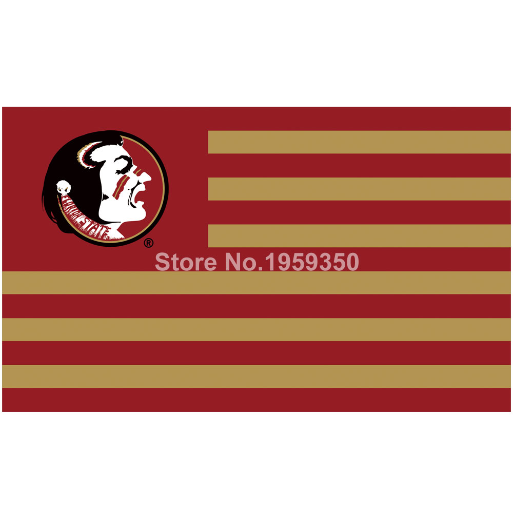 Florida State Seminoles with Modified US Flag 3ft x 5ft Polyester NCAA banner white sleeve with 2 metal Grommets 90x150cm(China (Mainland))