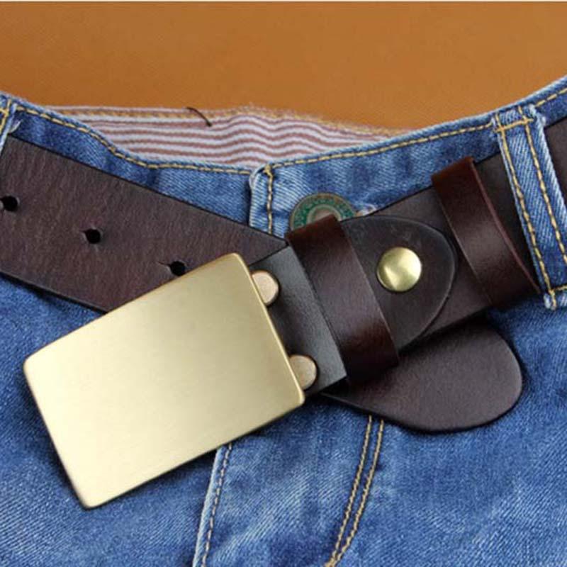 Fashion New Style Designer Copper Smooth Buckle Belts for Men Brand Leather Belt Mens COFAJA0119Одежда и ак�е��уары<br><br><br>Aliexpress