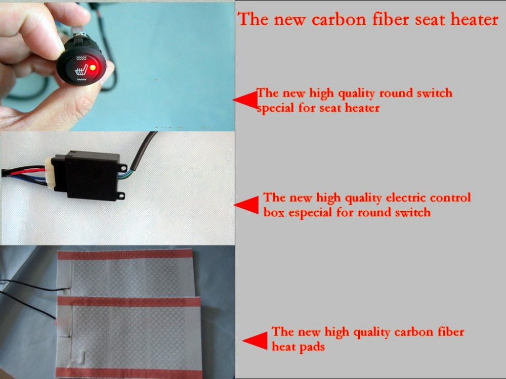 The new carbon fiber seat heater with round switch and electric control box,auto heater,car seat  heat cushion<br><br>Aliexpress